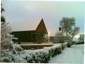 longhouse front in winter